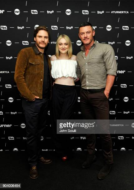 Actor Daniel Bruhl, Actor Dakota Fanning and Actor Luke Evans of 'The Alienist' poses in the green room during the TCA Turner Winter Press Tour 2018...