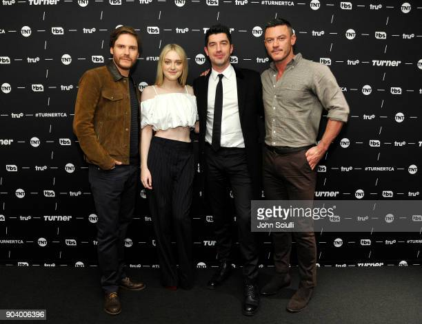 Actor Daniel Bruhl, Actor Dakota Fanning, Executive producer Jakob Verbruggen and Actor Luke Evans of 'The Alienist' poses in the green room during...