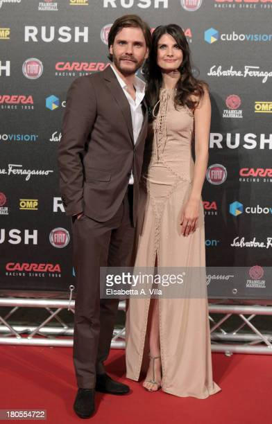 Actor Daniel Bruhl and girlfriend Felicitas Rombold attend the 'Rush' premiere at Auditorium della Conciliazione on September 14 2013 in Rome Italy