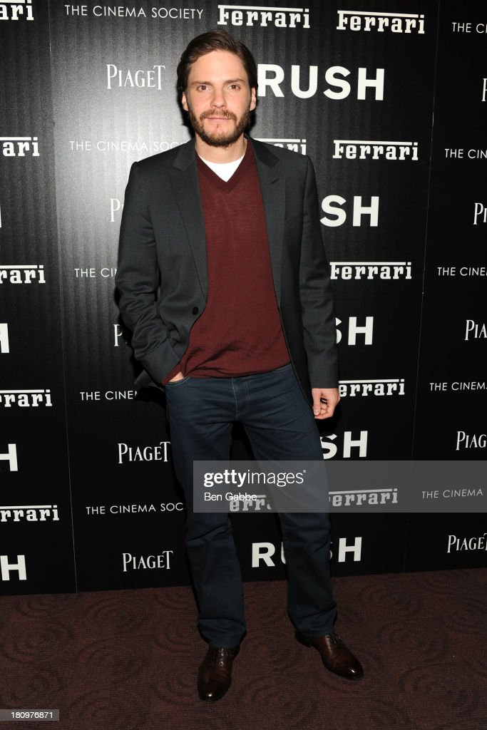 Actor Daniel Bruhl attends the Ferrari & The Cinema Society screening of 'Rush' at Chelsea Clearview Cinemas on September 18, 2013 in New York City.