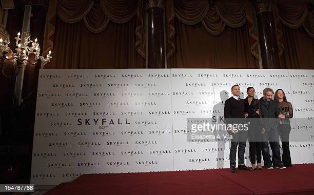 Actor Daniel Craig actress Naomie Harris director Sam Mendes and producer Barbara Broccoli attend Skyfall Rome Photocall at St Regis Grand Hotel on...
