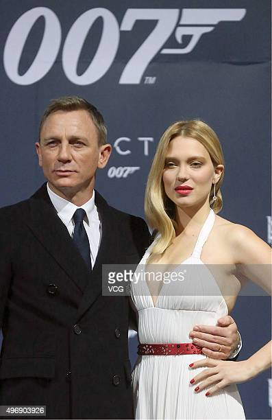 Actor Daniel Craig and actress Lea Seydoux attend 'Spectre' premiere at The Place on November 12 2015 in Beijing China