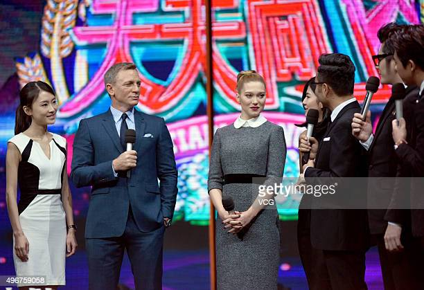 Actor Daniel Craig and actress/model Lea Seydoux attend the recording of TV program 'Day Day Up' on November 11 2015 in Changsha Hunan Province of...