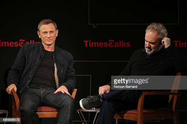 Actor Daniel Craig and director Sam Mendes chat with moderator Logan Hill during the Times Talks Presents Spectre An Evening With Daniel Craig And...