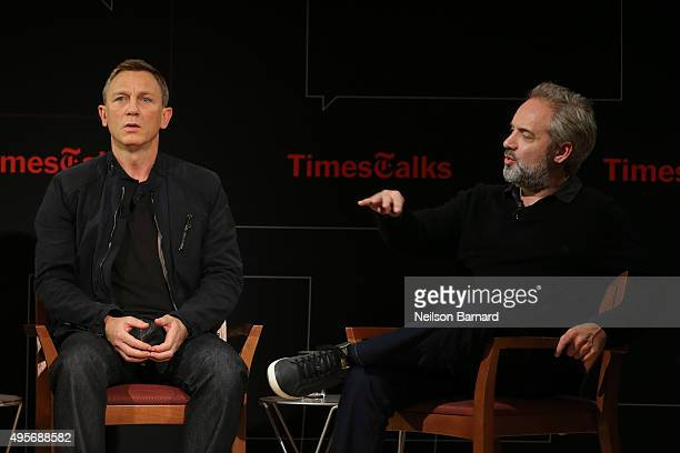 Actor Daniel Craig and director Sam Mendes chat with moderator Logan Hill during the 'Times Talks Presents Spectre An Evening With Daniel Craig And...