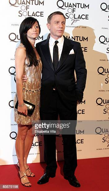 Actor Daniel Craig and fiancee Satuski Mitchell attend 'Quantum Of Solace' premiere at the Warner Village Moderno cinema on November 5 2008 in Rome...