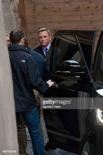 Actor Daniel Craig arrives at Palazzo Senatorio the city hall of Rome for a photocall to promote the 24th 007 movie 'Spectre' on February 18 2015 in...
