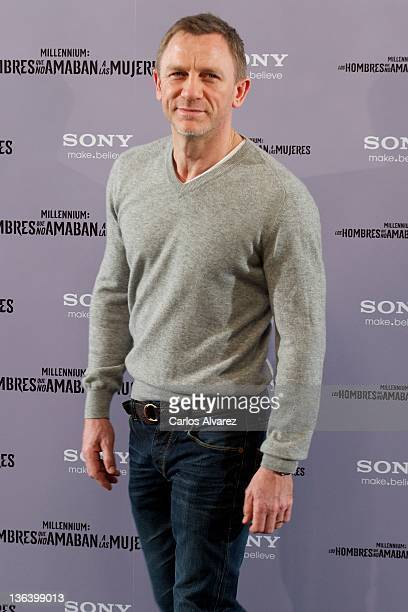 Actor Daniel Craig attends The Girl With The Dragon Tattoo photocall at Villamagna Hotel on January 4 2012 in Madrid Spain