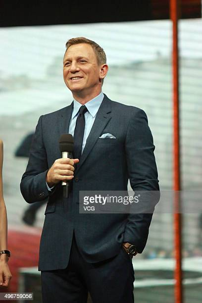 Actor Daniel Craig attends the recording of TV program Day Day Up on November 11 2015 in Changsha Hunan Province of China