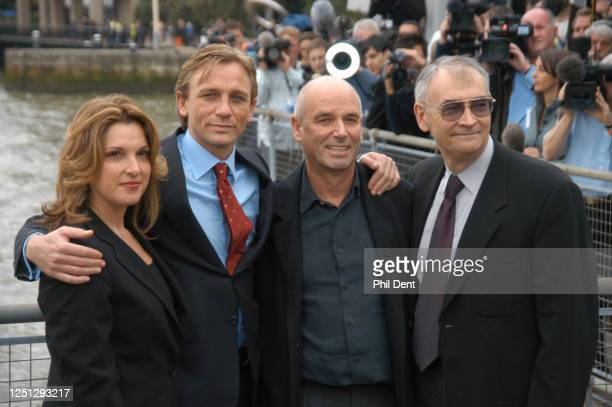 Actor Daniel Craig , being presented to the press at St Catharines's dock as the new James Bond alongside director Martin Campbell and producers...