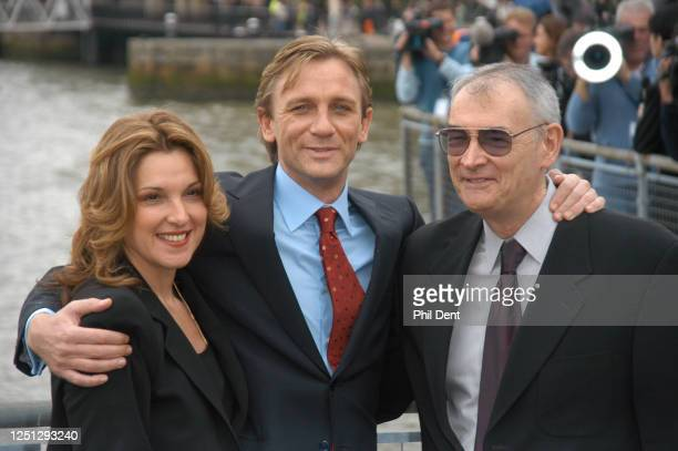 Actor Daniel Craig , being presented to the press at St Catharines's dock as the new James Bond alongside producers Barbara Boccoli, Michael G...