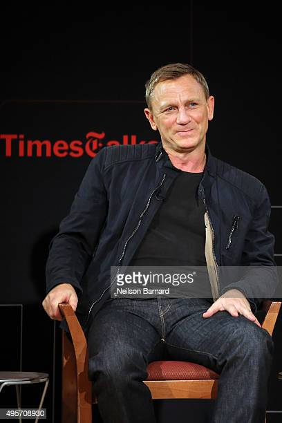 Actor Daniel Craig chats with moderator Logan Hill during the Times Talks Presents Spectre An Evening With Daniel Craig And Sam Mendes' event at The...