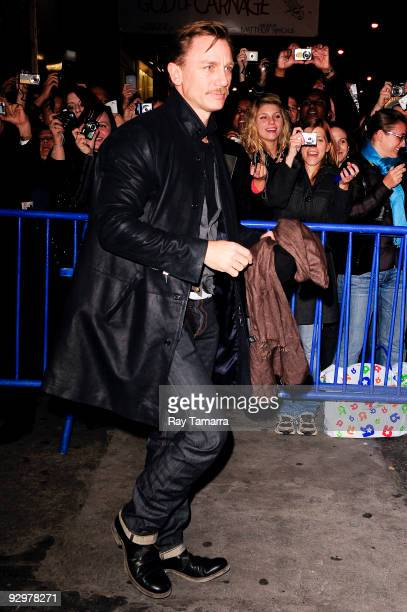 Actor Daniel Craig greets fans outside of the Schoenfeld Theatre on November 10 2009 in New York City