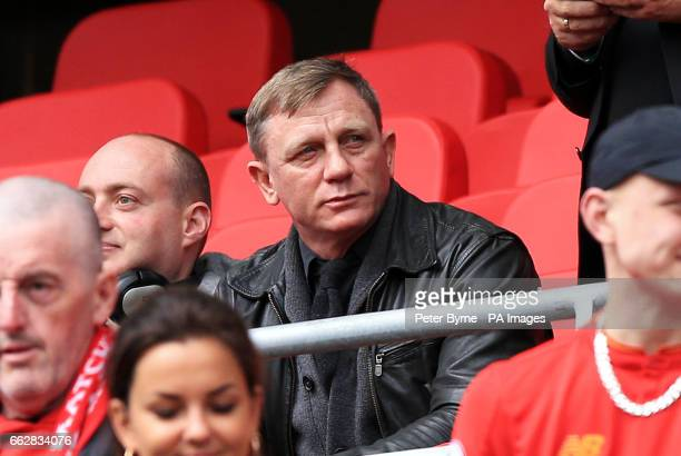 Actor Daniel Craig in the stands before the Premier League match at Anfield Liverpool