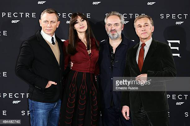 Actor Daniel Craig Monica Bellucci director Sam Mendes and Christoph Waltz attend a photocall for 'Spectre' at Hotel St Regis on October 27 2015 in...