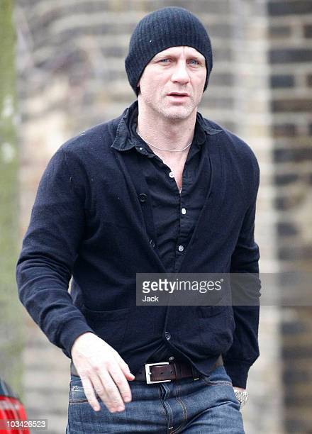 Actor Daniel Craig outside his house on January 12 2008 in LondonEngland