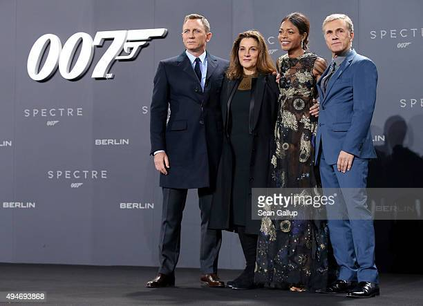 Actor Daniel Craig producer Barbara Broccoli actress Naomie Harris and actor Christoph Waltz attend the German premiere of the new James Bond movie...