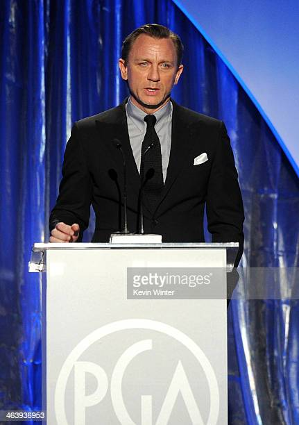 Actor Daniel Craig speaks onstage during the 25th annual Producers Guild of America Awards at The Beverly Hilton Hotel on January 19 2014 in Beverly...