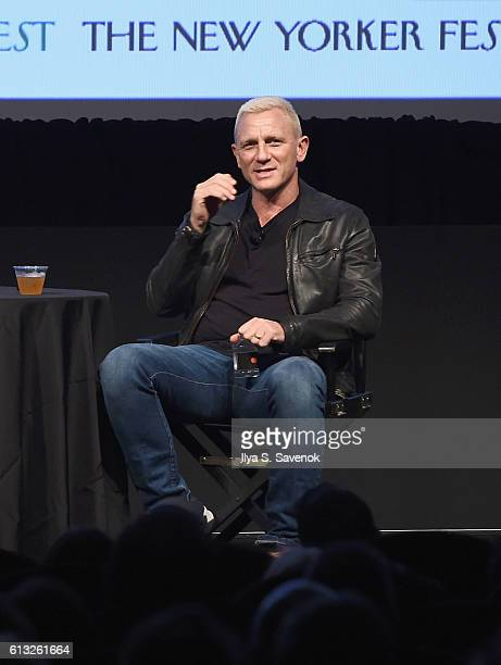 Actor Daniel Craig speaks onstage during The New Yorker Festival 2016 Daniel Craig talks With Nicholas Schmidle at MasterCard Stage at SVA Theatre on...
