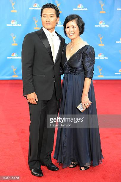 Actor Daniel Dae Kim and his mother arrive at the 62nd Annual Primetime Emmy Awards held at the Nokia Theatre LA Live on August 29 2010 in Los...