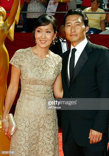 Actor Daniel Dae Kim and Wife Mia Kim arrive at the 60th Primetime Emmy Awards at the Nokia Theater on September 21 2008 in Los Angeles California