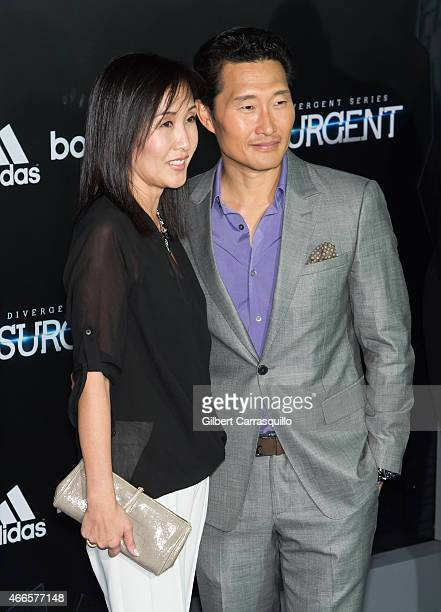 Actor Daniel Dae Kim and wife Mia Kim attend 'The Divergent Series Insurgent' New York premiere at Ziegfeld Theater on March 16 2015 in New York City