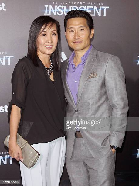 Actor Daniel Dae Kim and wife Mia Kim attend the The Divergent Series Insurgent New York premiere at Ziegfeld Theater on March 16 2015 in New York...