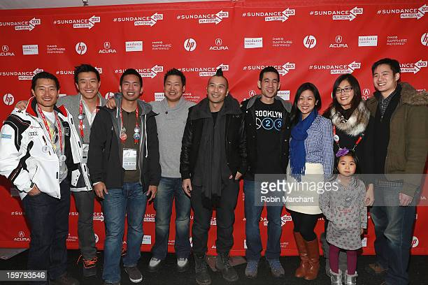 Actor Daniel Dae Kim producers Brian Yang Josh Fan and Christopher Chen director Evan Jackson Leong Josh Lin executive producer Patricia Sun Ayaka Lu...