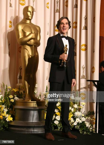 Actor Daniel Day Lewis poses in the press room during the 80th Annual Academy Awards at the Kodak Theatre on February 24, 2008 in Los Angeles,...