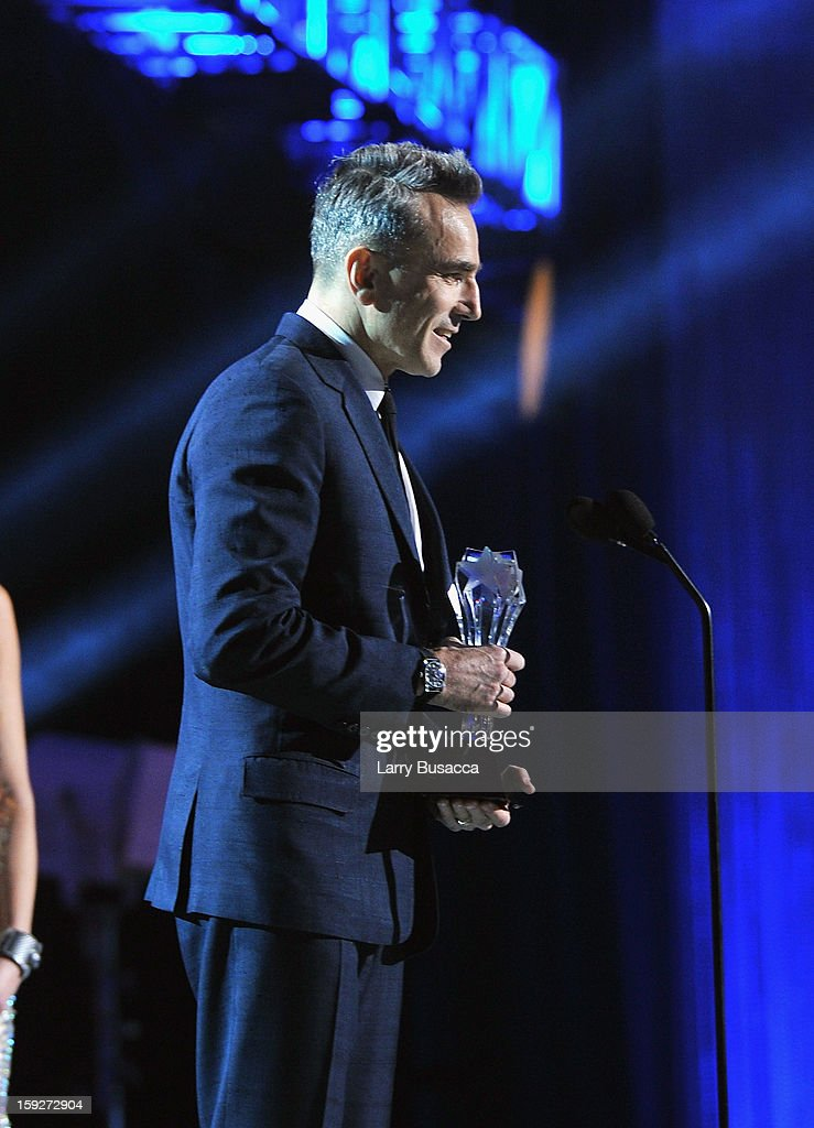 Actor Daniel Day-Lewis accepts the award for Best Actor onstage at the 18th Annual Critics' Choice Movie Awards held at Barker Hangar on January 10, 2013 in Santa Monica, California.
