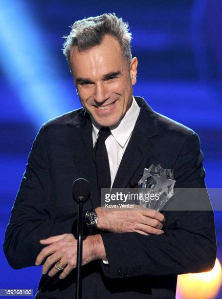 Actor Daniel DayLewis accepts the Best Actor Award for 'Lincoln' onstage at the 18th Annual Critics' Choice Movie Awards held at Barker Hangar on...