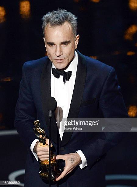 Actor Daniel DayLewis accepts the Best Actor award for 'Lincoln' onstage during the Oscars held at the Dolby Theatre on February 24 2013 in Hollywood...