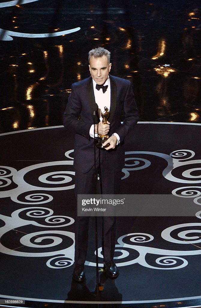 Actor Daniel Day-Lewis accepts the Best Actor award for 'Lincoln' onstage during the Oscars held at the Dolby Theatre on February 24, 2013 in Hollywood, California.