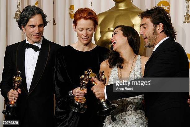 TELECAST*** Actor Daniel DayLewis actress Tilda Swinton actress Marion Cotillard and actor Javier Bardem pose in the press room during the 80th...