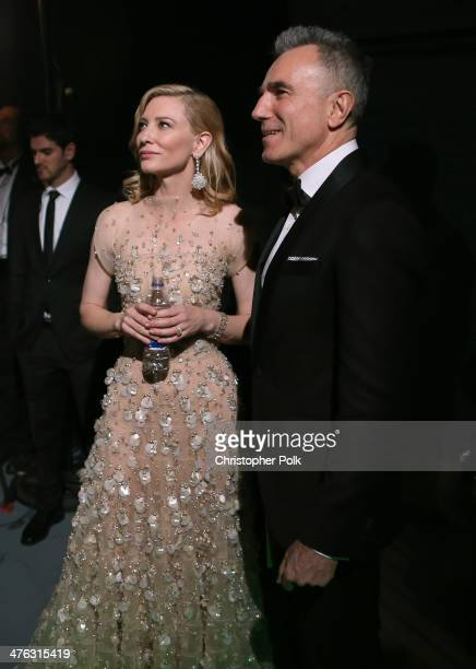 Actor Daniel DayLewis and Best Actress winner Cate Blanchett backstage during the Oscars held at Dolby Theatre on March 2 2014 in Hollywood California