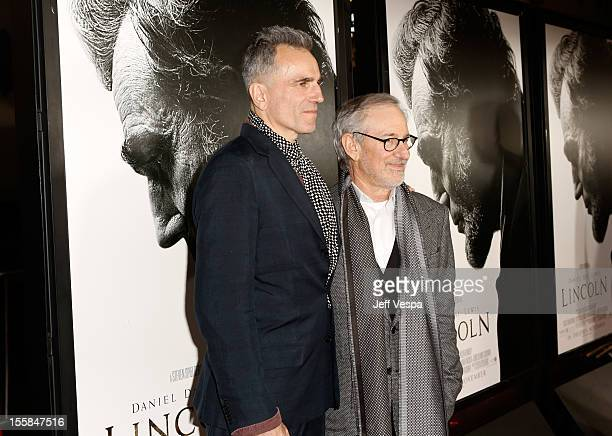 """Actor Daniel Day-Lewis and director Steven Spielberg arrive at the """"Lincoln"""" closing night gala premiere during AFI Fest 2012 at Grauman's Chinese..."""