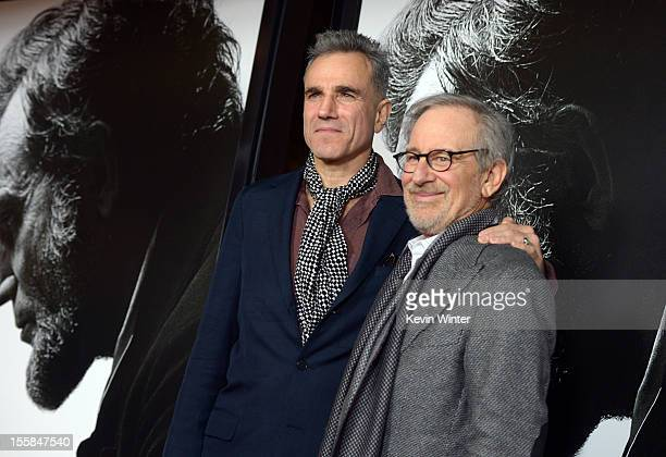 """Actor Daniel Day-Lewis and director Steven Spielberg arrive at the """"Lincoln"""" premiere during AFI Fest 2012 presented by Audi at Grauman's Chinese..."""