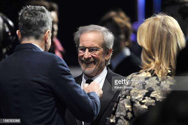 Actor Daniel DayLewis and Director Steven Spielberg in the audience at the 18th Annual Critics' Choice Movie Awards held at Barker Hangar on January...