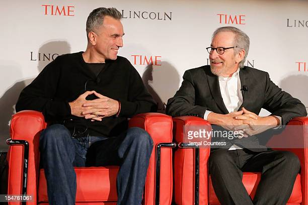 Actor Daniel DayLewis and director Steven Spielberg speak onstage at TIME's screening of Lincoln and Q A on October 25 2012 in New York City