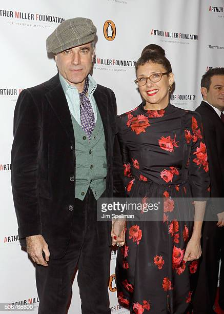 Actor Daniel DayLewis and film director Rebecca Miller attend the Arthur Miller One Night 100 Years Benefit at Lyceum Theatre on January 25 2016 in...