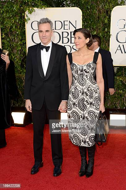 Actor Daniel DayLewis and filmmaker Rebecca Miller arrive at the 70th Annual Golden Globe Awards held at The Beverly Hilton Hotel on January 13 2013...