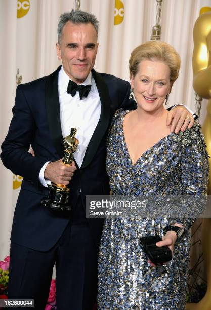 Actor Daniel Day-Lewis and presenter Meryl Streep pose in the press room during the Oscars at the Loews Hollywood Hotel on February 24, 2013 in...
