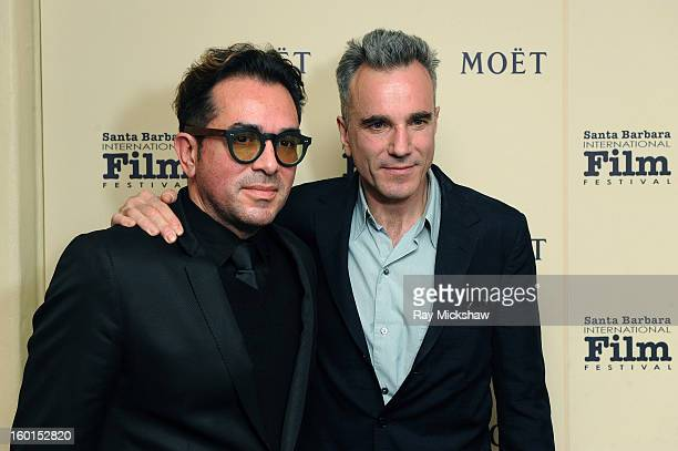 Actor Daniel DayLewis and SBIFF directo Roger Durling attend the 28th Santa Barbara International Film Festival Montecito Award on January 26 2013 in...