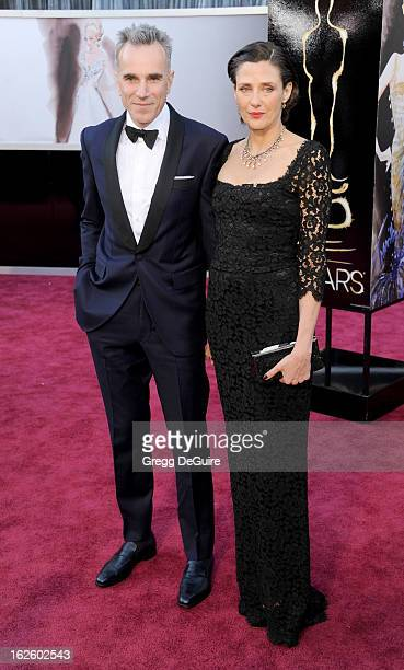 Actor Daniel DayLewis and wife Rebecca Miller arrive at the Oscars at Hollywood Highland Center on February 24 2013 in Hollywood California