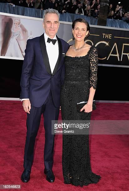 Actor Daniel DayLewis and writer/director Rebecca Miller arrives at the Oscars at Hollywood Highland Center on February 24 2013 in Hollywood...