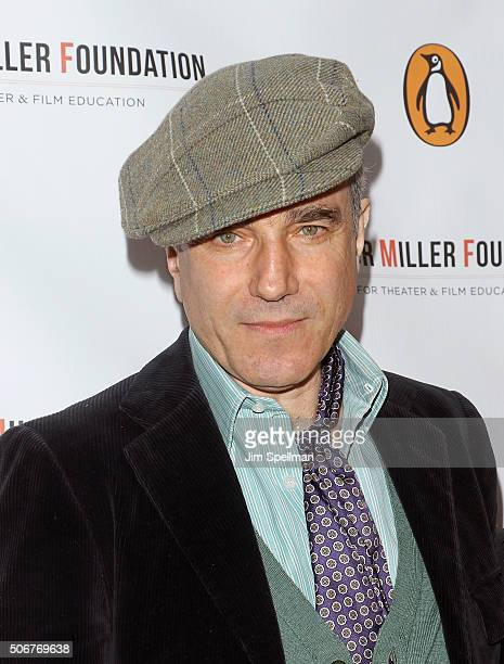Actor Daniel DayLewis attends the Arthur Miller One Night 100 Years benefit at Lyceum Theatre on January 25 2016 in New York City