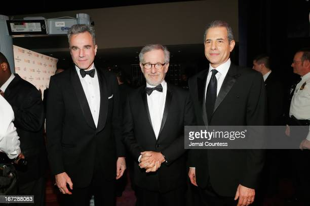 Actor Daniel DayLewis filmmaker Steven Spielberg and TIME Managing Editor Richard Stengel attend the TIME 100 Gala TIME'S 100 Most Influential People...