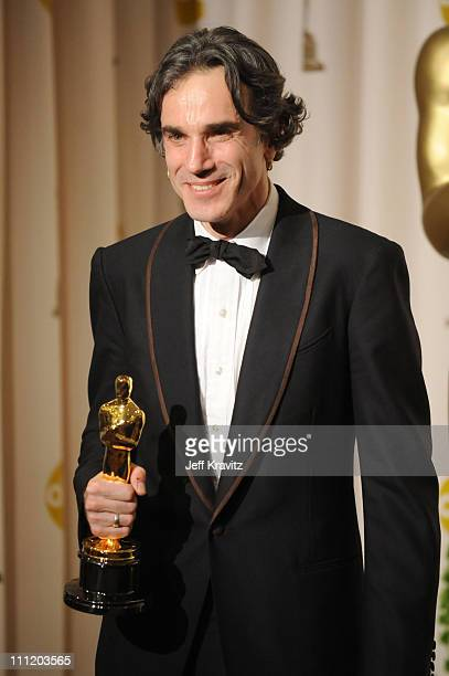Actor Daniel DayLewis poses in the press room during the 80th Annual Academy Awards at the Kodak Theatre on February 24 2008 in Los Angeles California