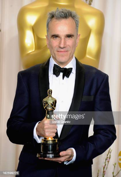 Actor Daniel DayLewis poses in the press room during the Oscars at the Loews Hollywood Hotel on February 24 2013 in Hollywood California