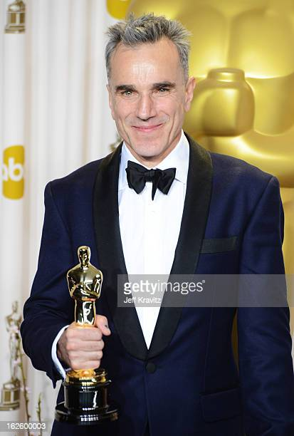 Actor Daniel DayLewis poses in the press room during the Oscars at Loews Hollywood Hotel on February 24 2013 in Hollywood California
